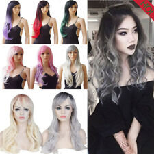 Womens Lady Long Hair Wig Curly Wavy Straight Cosplay Costume Party Full Wigs K3