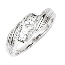 925 Sterling Silver Bypass Love Diamond Ring - 0.01 Cttw