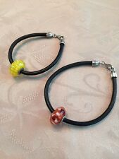 Authentic PANDORA Sterling & Leather Blossom Murano Bead Bracelet *Your Choice*
