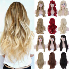 New Fashion Women Long Straight Ombre Black To Blonde Color Synthetic Wigs Kl7