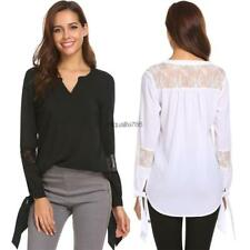 Women Casual V Neck Long Sleeve Lace Patchwork Blouse Shirt Asymmetrical HE8Y