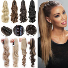 Mega Thick Real Jaw/Claw On Ponytail Clip In As Human Hair Extensions Long PH1