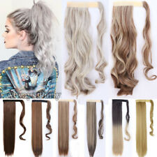 Real Thick Wrap On As Human Hair Extensions Pony Tail Long Fake Pony Tail Gray