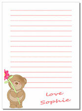 nc Personalised NOTELETS writing paper TEDDY BEAR A6 A5,  girls present message