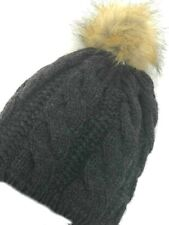Beanie Chunky Cable Knit Slouchy Hat Faux Fur Pom Ski Hat Cap Beret Fleece Lined