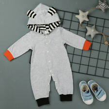 Newborn Baby Boy Girl Jumpsuit Infant Cotton Romper Hooded Bodysuit Outfits
