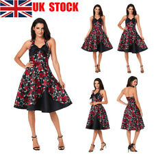 UK Women Elegant Vintage Floral Halter A-line Slim Fit Evening Party Midi Dress