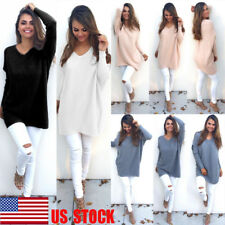 USA Women V-neck Long Sleeve Tops Casual Loose Sweater Knitwear Pullover Outwear
