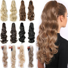 Long Big Wavy Straight Claw On Ponytail Clip In Hair Extensions Real Thick Hair