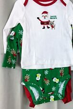 Santa Boy Infant 3 pc outfit Newborn or  3/6 Months  shirt, onsie and red pant