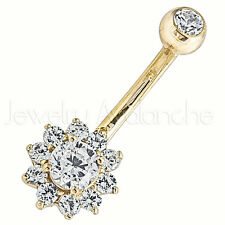 14Kt Yellow Gold Belly Ring, Flower Belly Button Ring, 14G Banana Barbell Ring