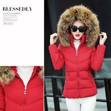 Winter Female's Down Cotton Parka Short Fur Collar Hooded Coat Quilted Jacket HY