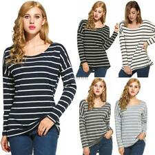 Stylish Ladies Women Casual Loose Striped Top O-Neck Long Sleeve Leisure Blouse
