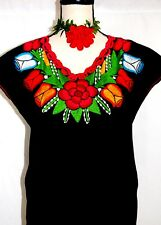 Vtg Blouse Peasant floral Embroidery Boho Frida Cotton Mexico all colors & sizes
