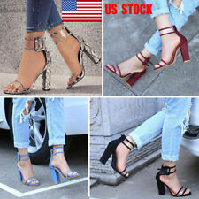 US Women Buckle Ankle Strap High Heel Party Sandals Dress Formal Pump Shoes Size