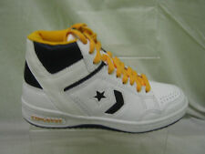 Boys Converse Lace Up Leather Trainer Boot In White, Navy And Yellow