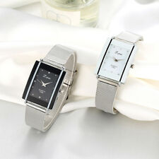 UNISEX RECTANGLE DIAL STAINLESS STEEL NET STRAP QUARTZ WRIST WATCH GIFT FITTED
