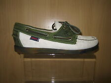 Ladies leather Sebago leather boat shoes,olive & taupe,Spinnaker