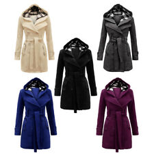 Jacket Belted Hooded Fleece Coat Womens Ladies Military Button