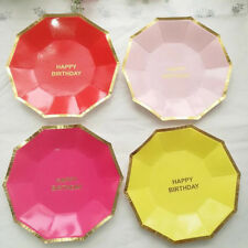 Party Tableware Paper Plates New Disposable Round Supplies Cake Birthday 8pcs