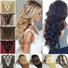 US Real Thick Hair Full Head 100% Natural Clip In Hair Extensions Ombre Mix AT8