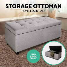Blanket Box Storage Ottoman PU Leather Fabric Chest Toy Clothes Foot Stool