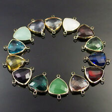 faceted Czech glass charm beads triangle connector for bracelet necklace 10Pcs