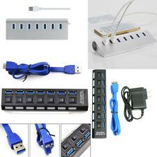 4/7 Port USB 3.0 Hub On/Off Switches AC Adapter Cable Splitter for PC Laptop Lot
