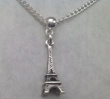 Eiffel Tower Pendant Silver Plated Chain Necklace France Paris Xmas Gift