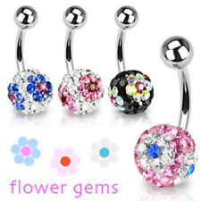 """Belly Button Piercing Ferido Crystal 4 Colors """" Flower """" Piercings from coolbody"""