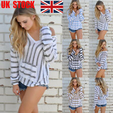 UK Womens Striped Hoodies V Neck T Shirts Sweatshirt Baggy Blouse Pullover Tops