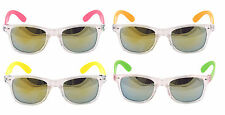 Mens Ladies Blue Mirror lens neon Arms Sunglasses neon Shades