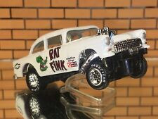 """Hot Wheels 55 Chevy Gasser """"RAT FINK"""" CUSTOM-PAINT-Real Riders detailed."""