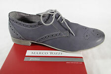 MARCO TOZZI Lace Up Sneakers Low Shoes Blue Real Leather NEW