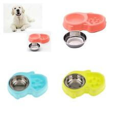 Pet Dog Cat Healthy Slow Feeder Bowl Stainless Steel Non-Slip Food Water Dish