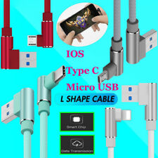 90 Degree Left Right Angle Micro USB IOS Fast Charger Data Sync Charging Cable