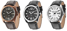Police Ranger II Leather Strap Mens Watch Black Brown white