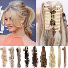 Grade 7A Long Thick Claw Ponytail Clip in Hair Extensions as Natural Ladies P15