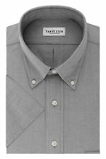 Van Heusen Mens Dress Shirts Short Sleeve Oxford Solid Button Down Collar, Grey