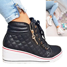 LADIES  WEDGE SNEAKERS TRAINERS HIGH TOP ANKLE BOOTS LACE UP MID HEEL