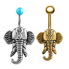 Elephant Button Dangle Barbell Bar Belly Navel Ring Body Piercing Jewelry 14G