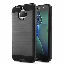 Moto G5S Plus Case Hybrid Dual Layer Cover Bumper Screen Protector Brushed Black
