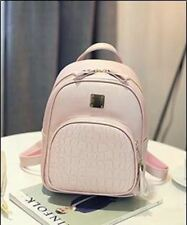 Pink Grey Color PU Leather School Shoulder Strap Backpack For Student Girl