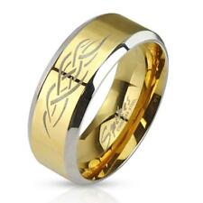 """Stainless Steel Unisex Ring Gold/Silver """" Tribal Inlay NEW - Jewelry"""