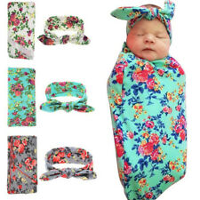 1 Set 3-colour  Newborn Baby Soft Blanket Baby Swaddle Infant Hat Swaddle Set