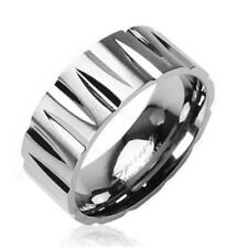 "coolbodyart Unisex Titan Ring Silver "" Tribal Faceted """