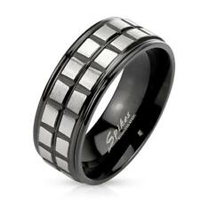 coolbodyart Stainless Steel Unisex Ring Silver Black Brushed Square Grooved Line