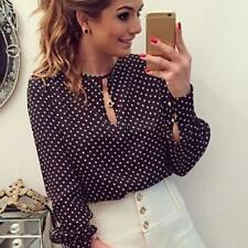 US Women Lady Long Sleeve Shirt Casual Polka Dot Blouse OL Chiffon Tee Top