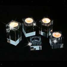 Cube Crystal Glass Tea Light Candle Holder Wedding Party Shop Table Decoration