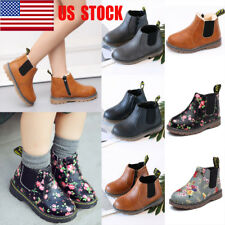 US Kids Girl Floral Snow Ankle Boots Boy Casual Anti-Slip Soft Martin Shoes Size
